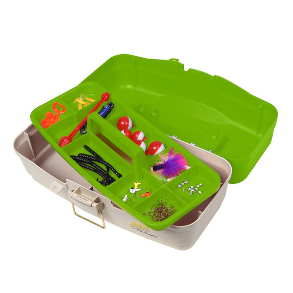 Plano Ready Set Fish On-Tray Tackle Box - Green/Tan