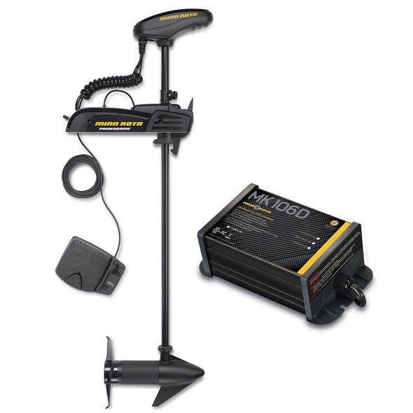 "Minn Kota Powerdrive 55_BT - 12v-55lb-54"" w/ Free MK-106D On-Board Charger - 62891"