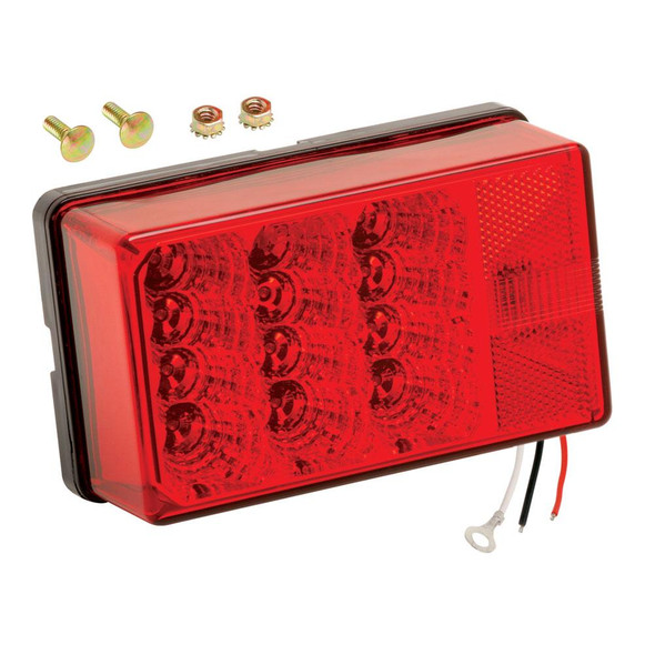 """Wesbar 4"""" x 6"""" Waterproof LED 7-Function, Right/Curbside w/3 Wire 90 deg Pigtail Trailer Light - 34982"""