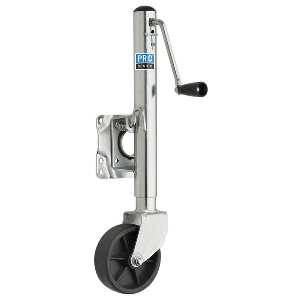 "Pro Series 1000 lbs. Zinc Plated Swivel Jack w/6"" Poly Wheel - 38574"