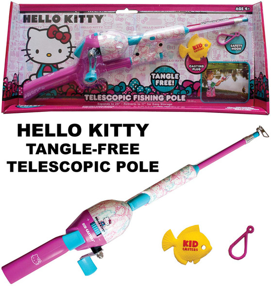 Kid Casters Telescopic Hello Kitty No Tangle Fishing Rod/Reel Combo Toy (HKSNTT15)