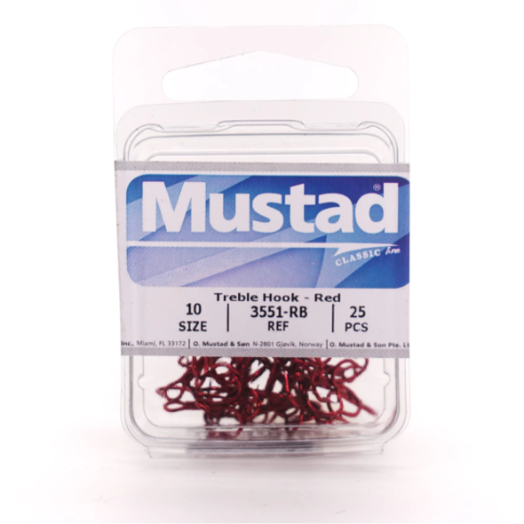 Mustad Classic Treble Hook - Red (3551-RB)