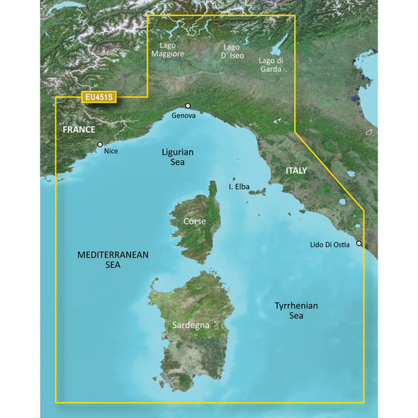 Garmin BlueChart g3 Vision HD - VEU451S - Legurian Sea, Corsica /SD