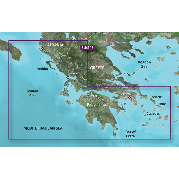 Garmin BlueChart g3 Vision HD - VEU490S - Greece West Coast /SD
