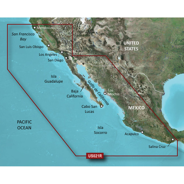Garmin BlueChart g2 HD - HXUS021R - California - Mexico - microSD/SD