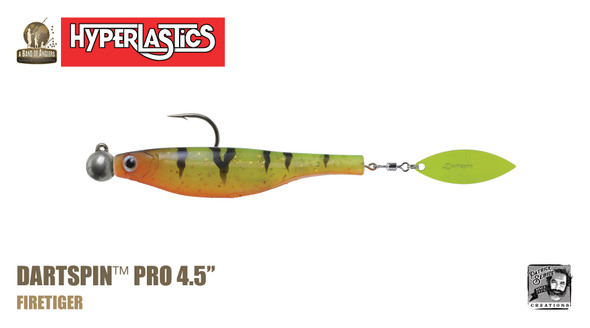 "A Band of Anglers HYPERLASTICS™ DARTSPIN™ PRO 4.5"" Firetiger - chartreuse"