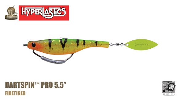"A Band of Anglers HYPERLASTICS™ DARTSPIN™ PRO 5.5"" Firetiger - chartreuse"