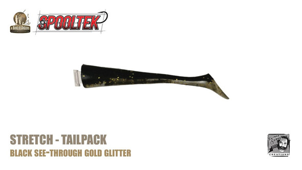 A Band of Anglers SPOOLTEK™ STRETCH™  Black See-Through Gold Giltter Tailpack