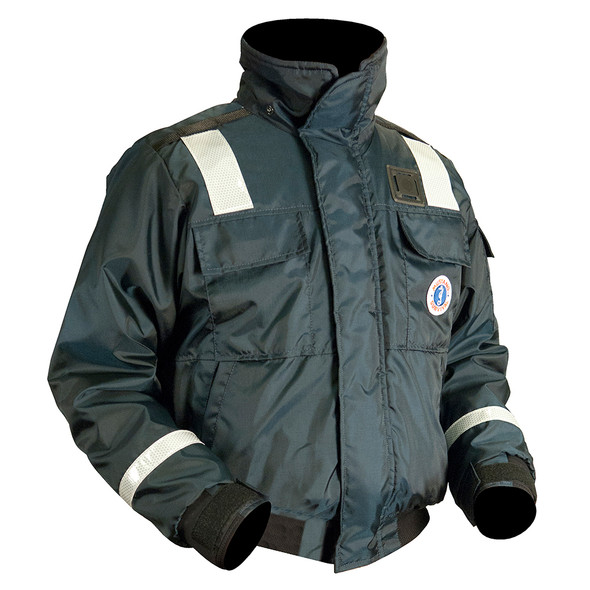 Mustang Classic Bomber Jacket w/SOLAS Reflective Tape - Large - Navy