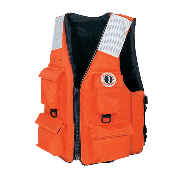 Mustang 4-Pocket Vest w/SOLAS Reflective Tape - XXL - Orange