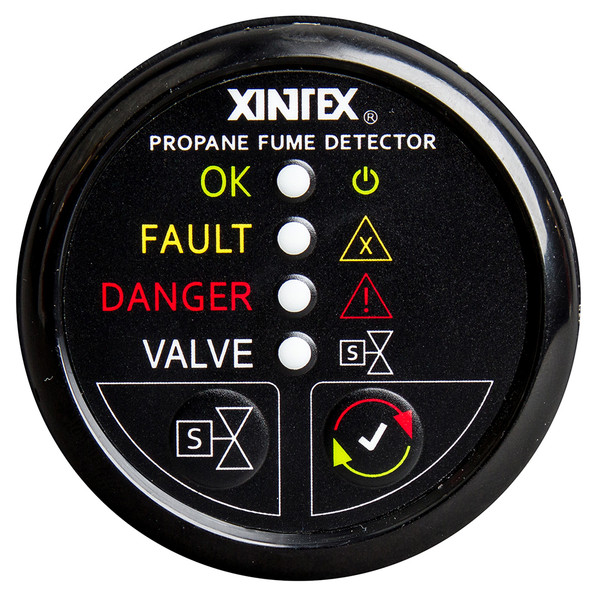 Xintex Propane Fume Detector w/Plastic Sensor & Solenoid Valve - Black Bezel Display