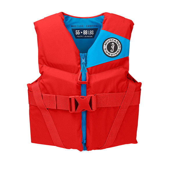 Mustang Rev Youth Foam Vest - 55-88lbs - Imperial Red