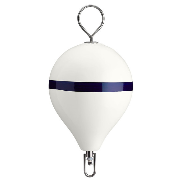 "Polyform Mooring Buoy w/SS 17"" Diameter - White Blue Stripe"