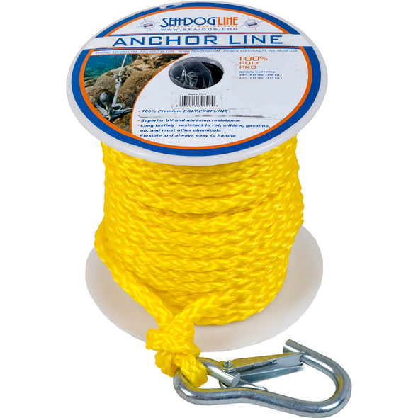 """Sea-Dog Poly Pro Anchor Line w/Snap - 3/8"""" x 75' - Yellow"""