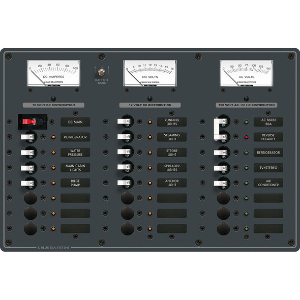 Blue Sea 8084 AC Main +6 Positions/DC Main +15 Positions Toggle Circuit Breaker Panel - White Switches
