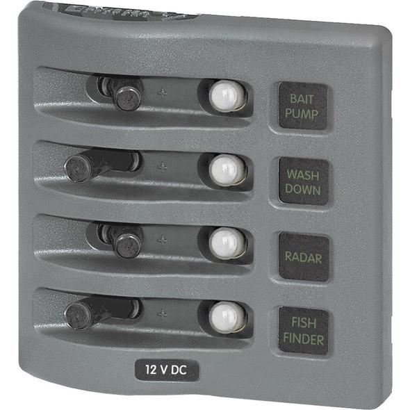 Blue Sea 4374 WeatherDeck Water Resistant Circuit Breaker Panel - 4 Position - Grey