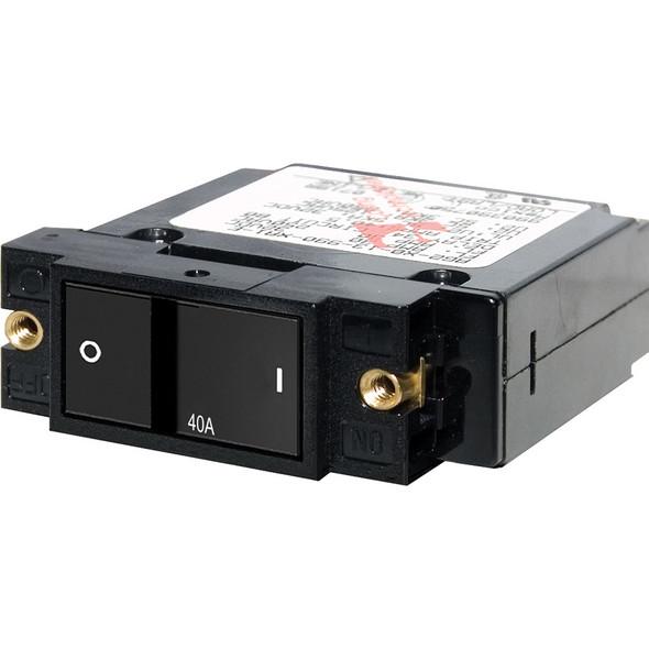 """Blue Sea 7407 Single Pole Small Case 2"""" Flat Rocker Circuit Breaker  -  40 Amp"""