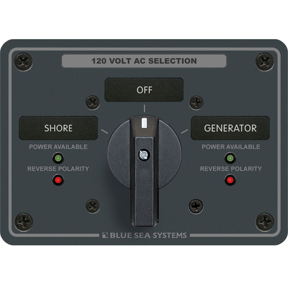 Blue Sea 8365 AC Rotary Switch Panel 65 Ampere 2 Positions + OFF, 2 Pole