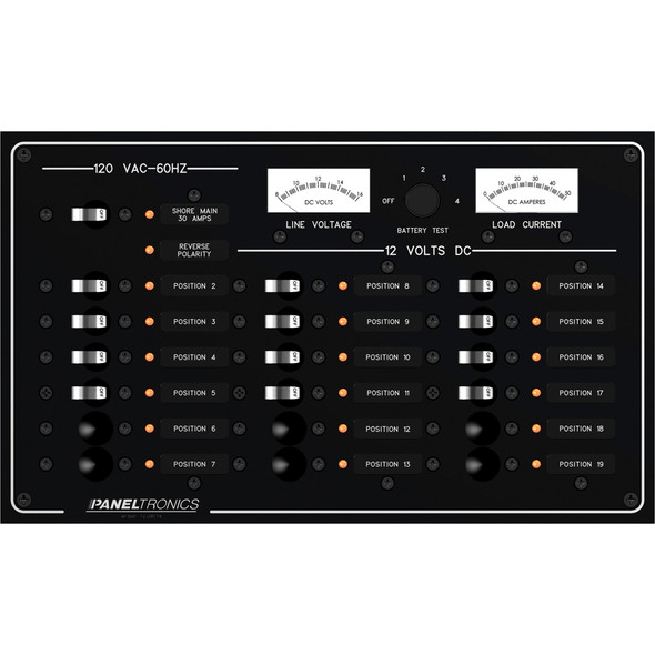 Paneltronics Standard Panel - AC/DC 19 Position Circuit Breaker w/Meters & LEDs