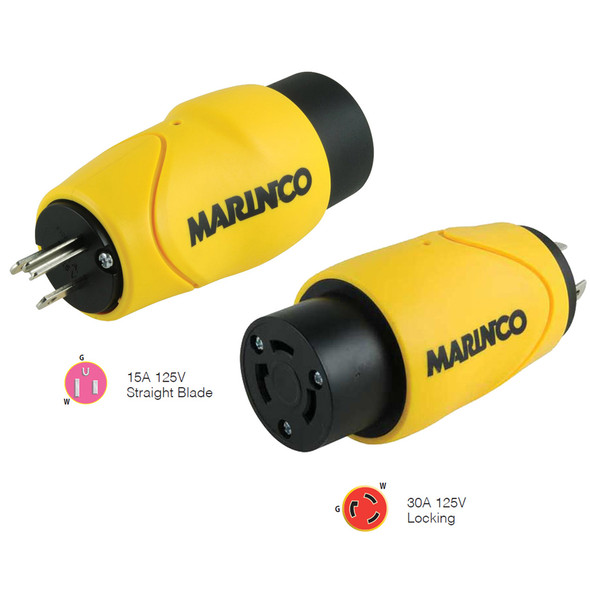 Marinco Straight Adapter 15Amp Straight Male to 30Amp Locking Female Connector