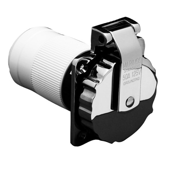 Marinco 6371EL-B 50Amp/125V Stainless Steel Inlet