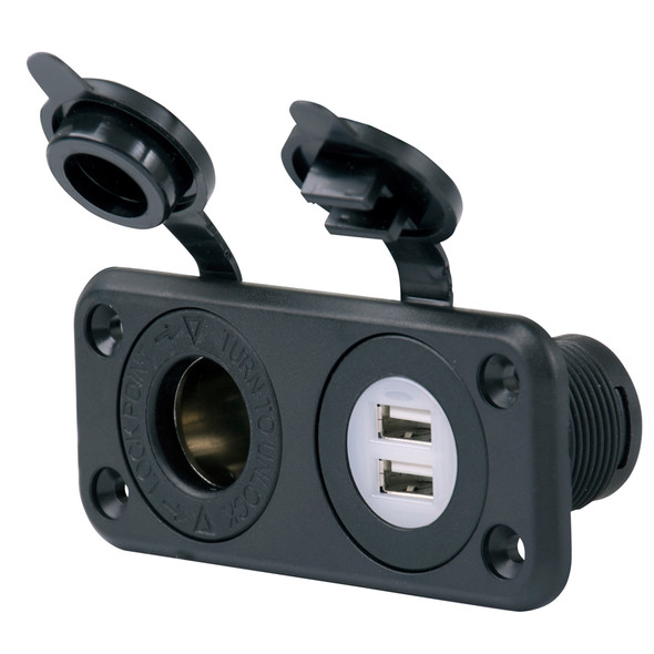 Marinco SeaLink Deluxe Dual USB Charger & 12V Receptacle