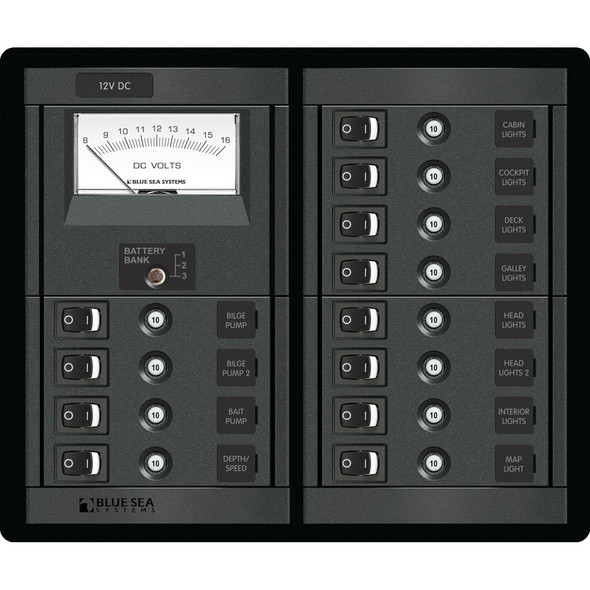 Blue Sea 1464 12 Position Switch CLB + Meter Square