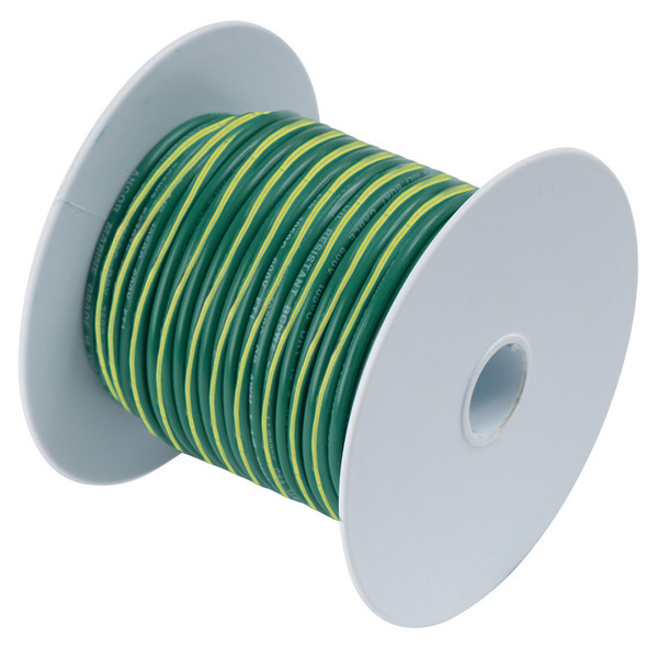 Ancor Green w/Yellow Stripe 10 AWG Tinned Copper Wire - 25'