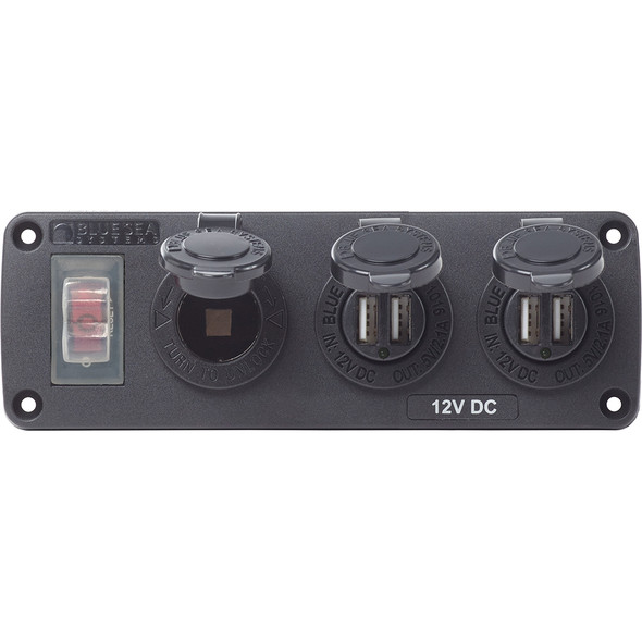 Blue Sea 4365 Water Resistant USB Accessory Panel - 15A Circuit Breaker, 12V Socket, 2x 2.1A Dual USB Chargers
