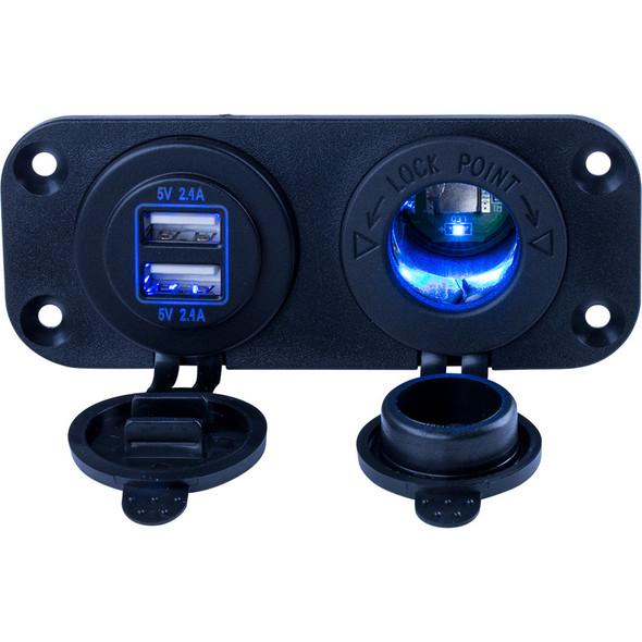 Sea-Dog Double USB & Power Socket Panel