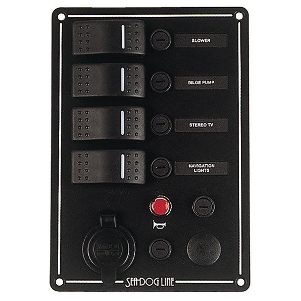 Sea-Dog Switch Panel 3 Circuit w/Power Socket, Horn Button & Ignition