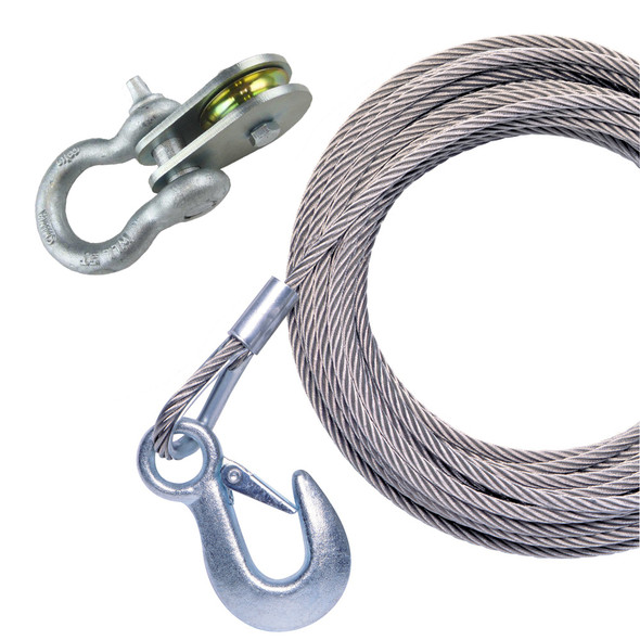 "Powerwinch 25' x 7/32"" Stainless Steel Universal Premium Replacement Galvanized Cable w/Pulley Block"