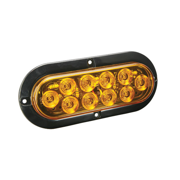 "Wesbar LED Waterproof 6"" Oval Surface Flange Mount Tail Light - Amber w/Black Flange Base"