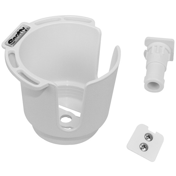 Scotty 311 Drink Holder w/Bulkhead/Gunnel Mount & Rod Holder Post Mount - White