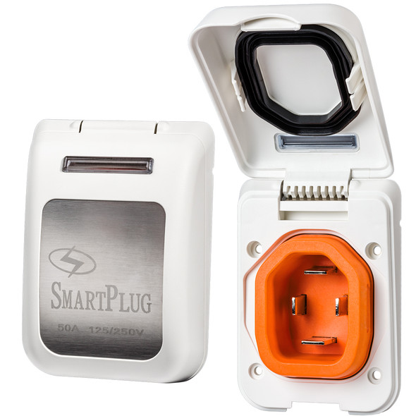 SmartPlug 50 Amp Non Metallic White Inlet - Boat & RV Side