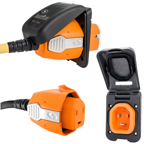 SmartPlug 30 Amp Non Metallic Black Inlet & Plug Combo - Boat & RV