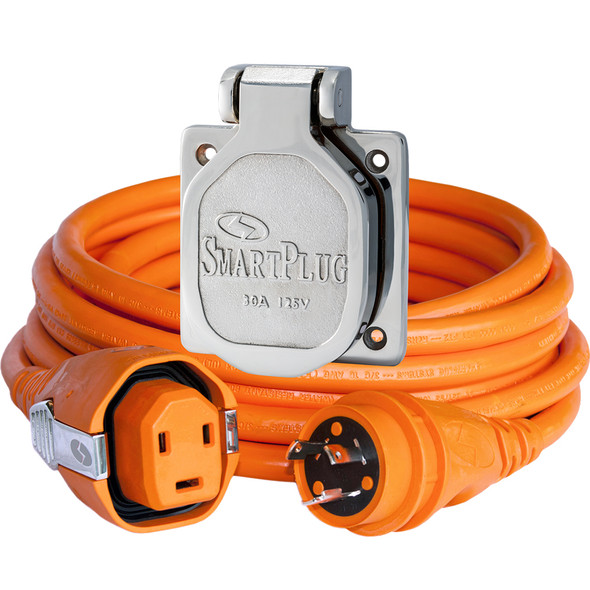 SmartPlug 30 Amp 50' Dual Configuration Cordset w/Tinned Wire & 30 Amp Stainless Steel Inlet