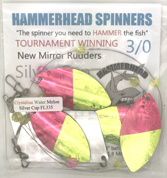 Hammerhead Custom Cowbell Spinners - 3/0 - Crystallina Water Melon - FL335