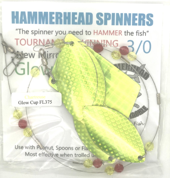 Hammerhead Custom Cowbell Spinners - 3/0 - Chartreuse - FL375