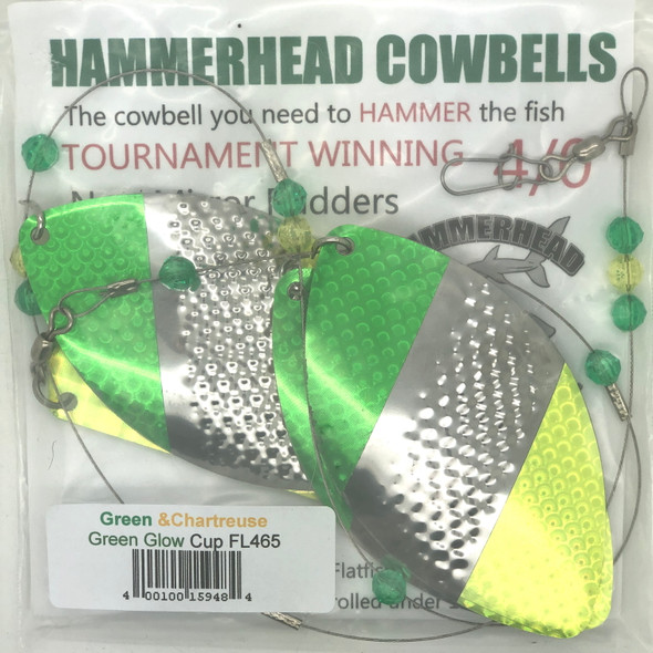 Hammerhead Custom Cowbell Spinners - 4/0 - Green & Chartreuse - FL465