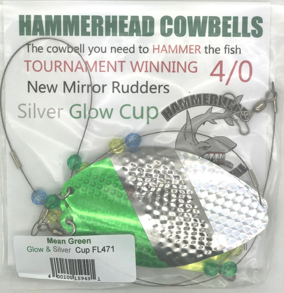 Hammerhead Custom Cowbell Spinners - 4/0 - Mean Green - FL471