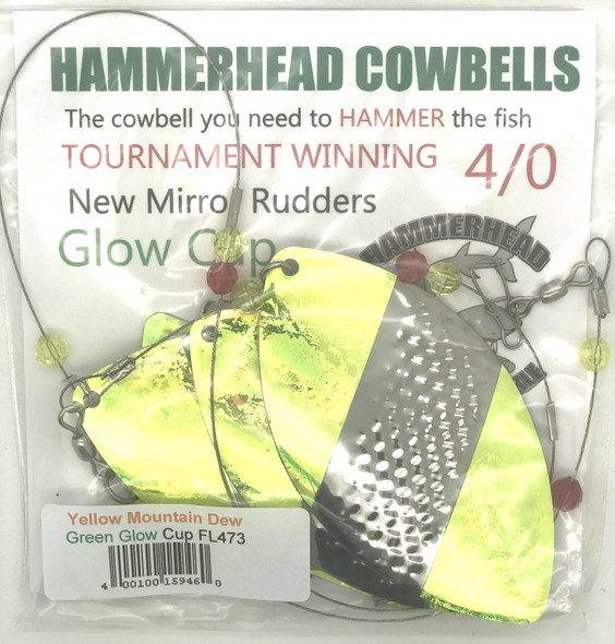 Hammerhead Custom Cowbell Spinners - 4/0 - Yellow Mountain Dew - FL473