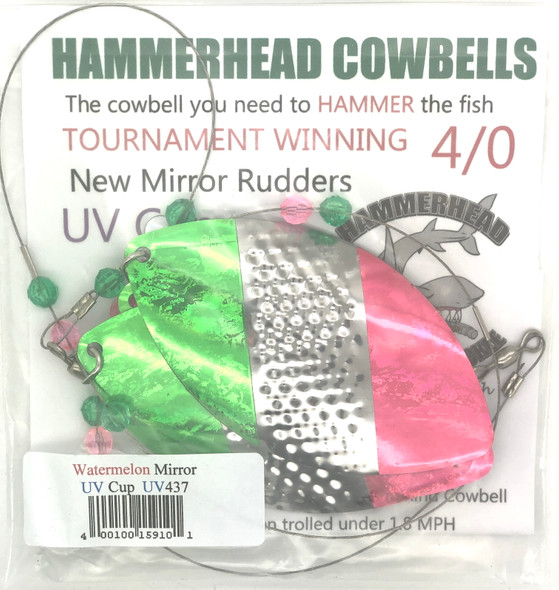 Hammerhead Custom Cowbell Spinners - 4/0 - UV Water Melon Mirror - UV437