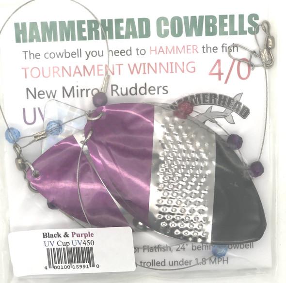 Hammerhead Custom Cowbell Spinners - 4/0 - UV Old School (Black & Purple) - UV450