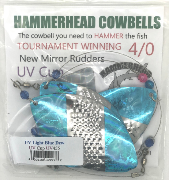 Hammerhead Custom Cowbell Spinners - 4/0 - UV Light Blue - UV455