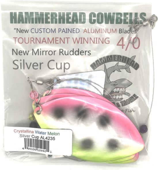 Hammerhead Custom Cowbell Spinners - 4/0 - Aluminum Crystalina Water Melon - AL4235