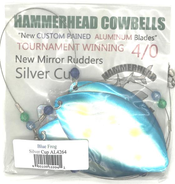 Hammerhead Custom Cowbell Spinners - 4/0 - Aluminum Blue Frog - AL4264