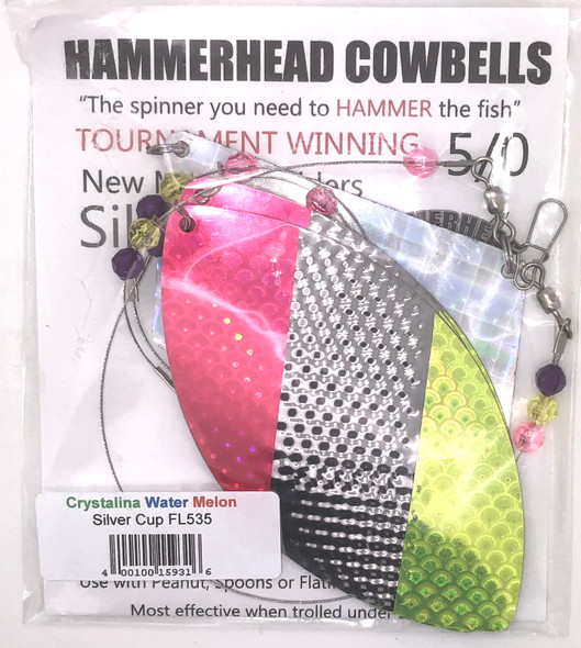 Hammerhead Custom Cowbell Spinners - 5/0 - Crystalina Water Melon - FL535