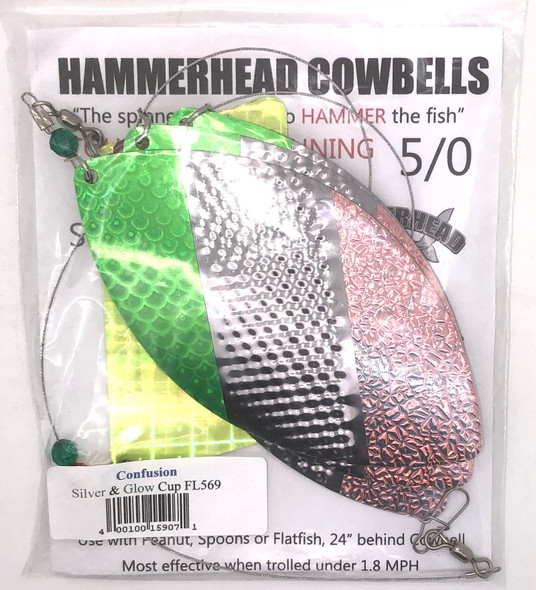 Hammerhead Custom Cowbell Spinners - 5/0 - Confusion - FL569