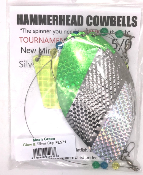 Hammerhead Custom Cowbell Spinners - 5/0 - Mean Green - FL571